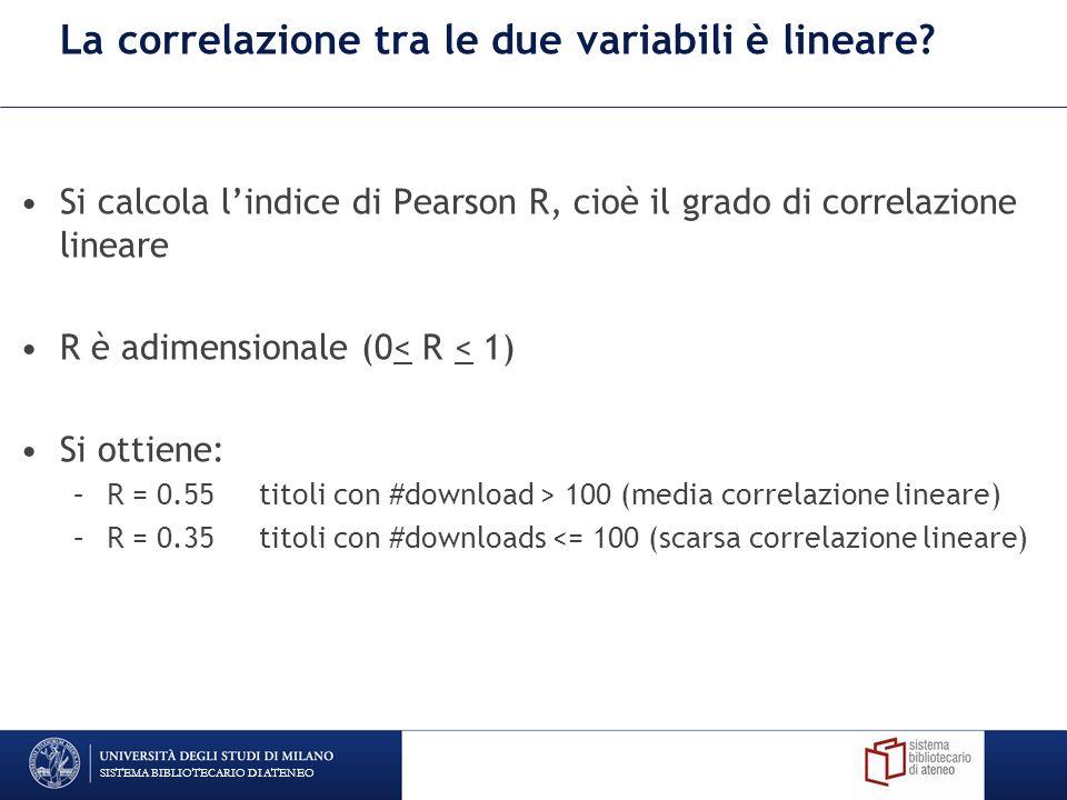 La correlazione tra le due variabili è lineare.