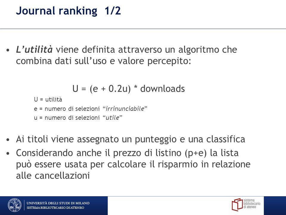 Journal ranking 1/2 Lutilità viene definita attraverso un algoritmo che combina dati sulluso e valore percepito: U = (e + 0.2u) * downloads U = utilità e = numero di selezioni irrinunciabile u = numero di selezioni utile Ai titoli viene assegnato un punteggio e una classifica Considerando anche il prezzo di listino (p+e) la lista può essere usata per calcolare il risparmio in relazione alle cancellazioni SISTEMA BIBLIOTECARIO DI ATENEO