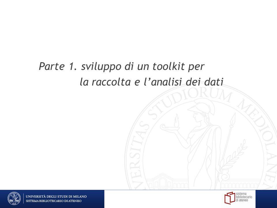 Parte 1. sviluppo di un toolkit per la raccolta e lanalisi dei dati SISTEMA BIBLIOTECARIO DI ATENEO