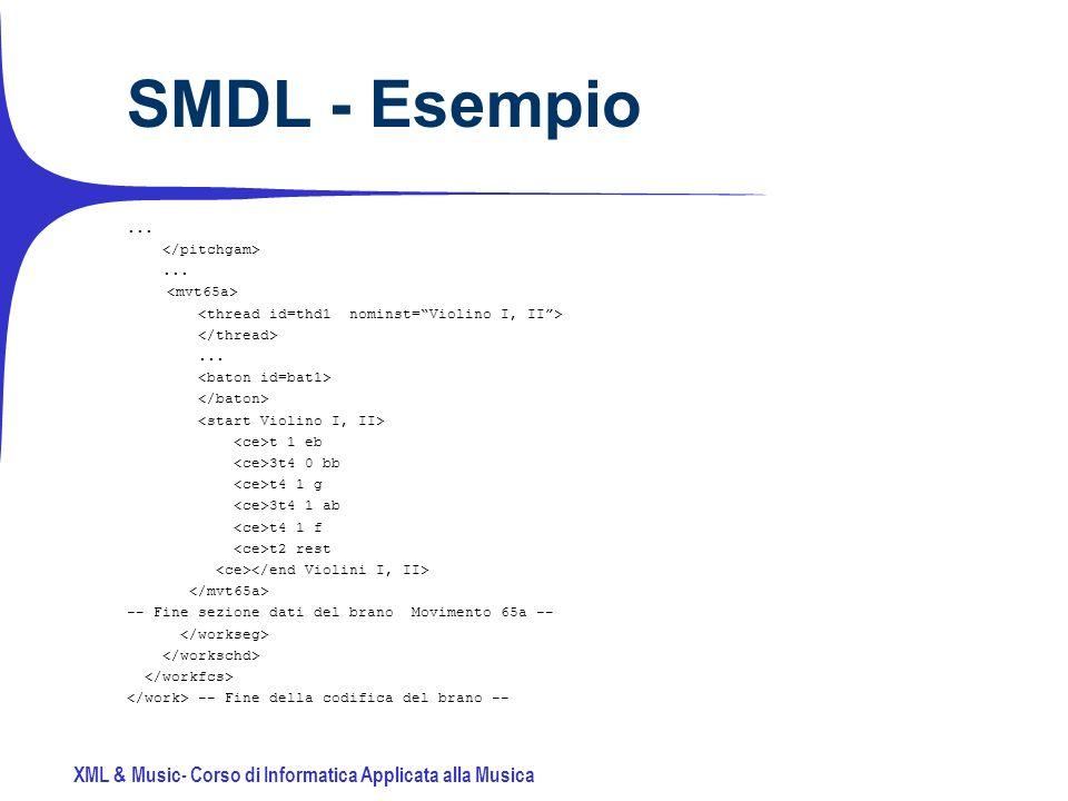 XML & Music- Corso di Informatica Applicata alla Musica SMDL - Esempio.........