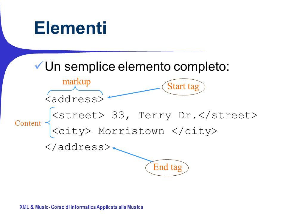 XML & Music- Corso di Informatica Applicata alla Musica Un semplice elemento completo: 33, Terry Dr.