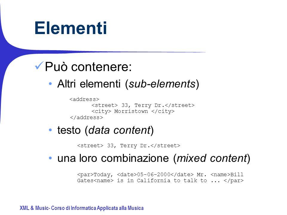 XML & Music- Corso di Informatica Applicata alla Musica Elementi Può contenere: Altri elementi (sub-elements) 33, Terry Dr.