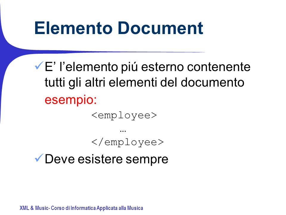XML & Music- Corso di Informatica Applicata alla Musica Elemento Document E lelemento piú esterno contenente tutti gli altri elementi del documento esempio: … Deve esistere sempre