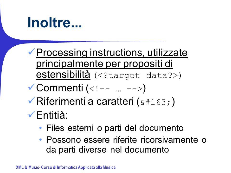 XML & Music- Corso di Informatica Applicata alla Musica Inoltre...