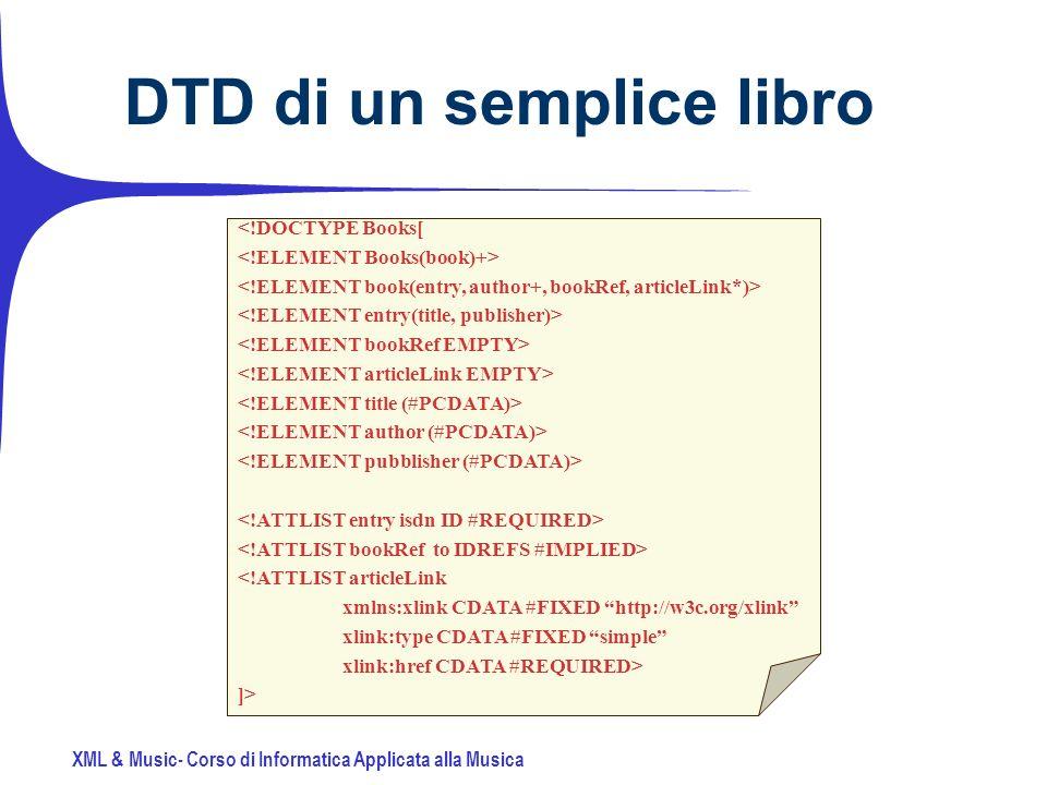 XML & Music- Corso di Informatica Applicata alla Musica DTD di un semplice libro <!DOCTYPE Books[ <!ATTLIST articleLink xmlns:xlink CDATA #FIXED http://w3c.org/xlink xlink:type CDATA #FIXED simple xlink:href CDATA #REQUIRED> ]>