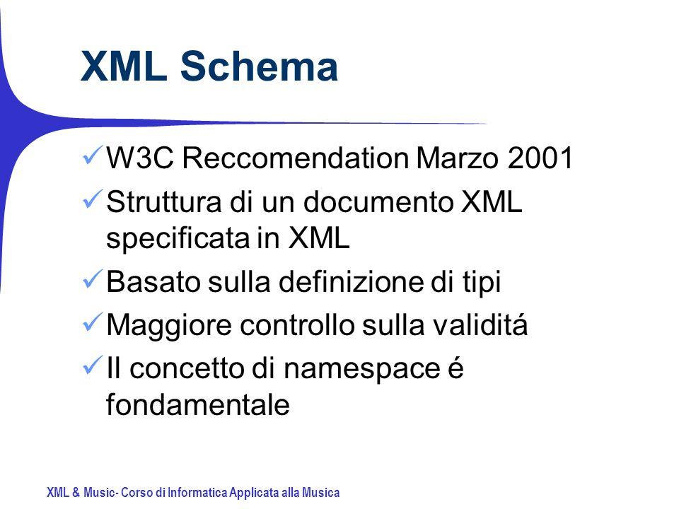 XML & Music- Corso di Informatica Applicata alla Musica XML Schema W3C Reccomendation Marzo 2001 Struttura di un documento XML specificata in XML Basato sulla definizione di tipi Maggiore controllo sulla validitá Il concetto di namespace é fondamentale
