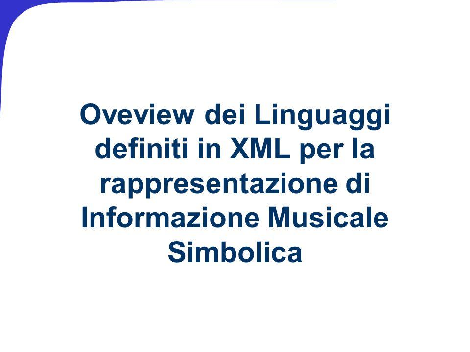 Oveview dei Linguaggi definiti in XML per la rappresentazione di Informazione Musicale Simbolica