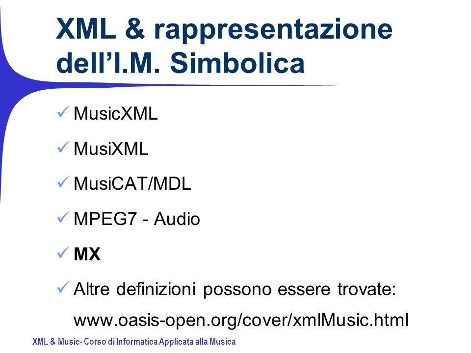 XML & Music- Corso di Informatica Applicata alla Musica XML & rappresentazione dellI.M.