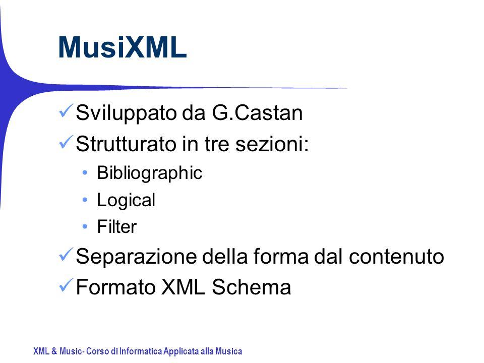 XML & Music- Corso di Informatica Applicata alla Musica MusiXML Sviluppato da G.Castan Strutturato in tre sezioni: Bibliographic Logical Filter Separazione della forma dal contenuto Formato XML Schema