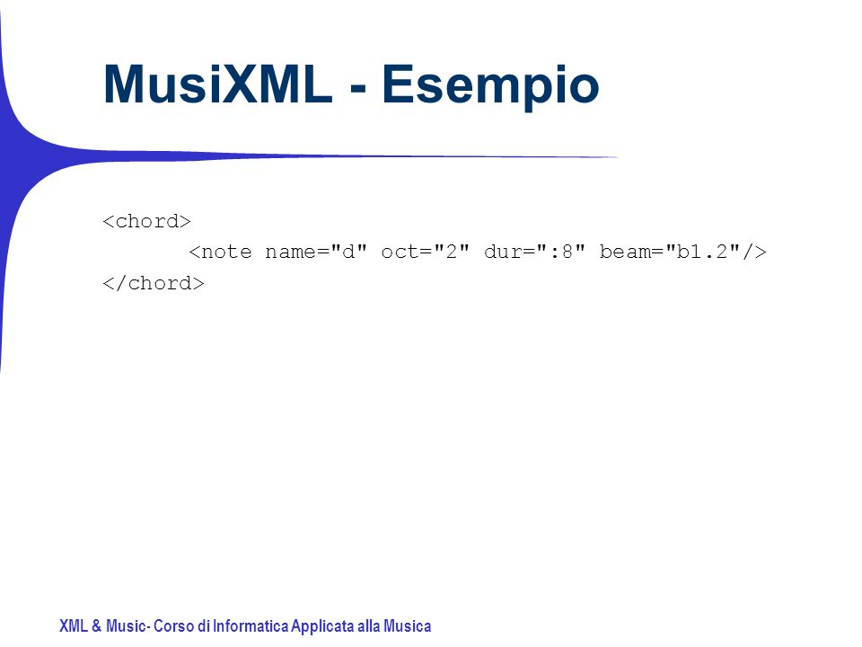 XML & Music- Corso di Informatica Applicata alla Musica MusiXML - Esempio