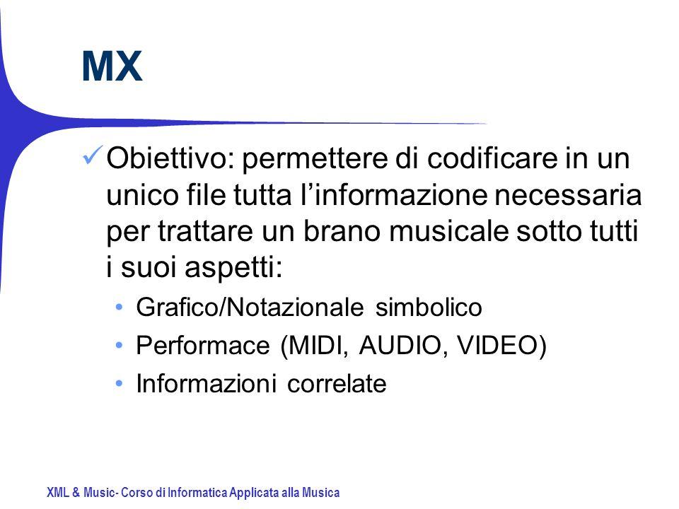 XML & Music- Corso di Informatica Applicata alla Musica MX Obiettivo: permettere di codificare in un unico file tutta linformazione necessaria per trattare un brano musicale sotto tutti i suoi aspetti: Grafico/Notazionale simbolico Performace (MIDI, AUDIO, VIDEO) Informazioni correlate