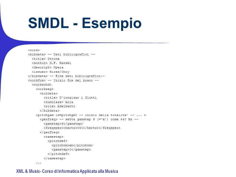 XML & Music- Corso di Informatica Applicata alla Musica SMDL - Esempio -- Dati bibliografici -- Ottone G.F.