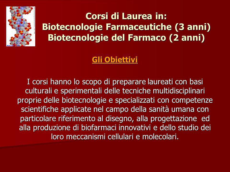 Corsi di Laurea in: Biotecnologie Farmaceutiche (3 anni) Biotecnologie del Farmaco (2 anni) Gli Obiettivi I corsi hanno lo scopo di preparare laureati