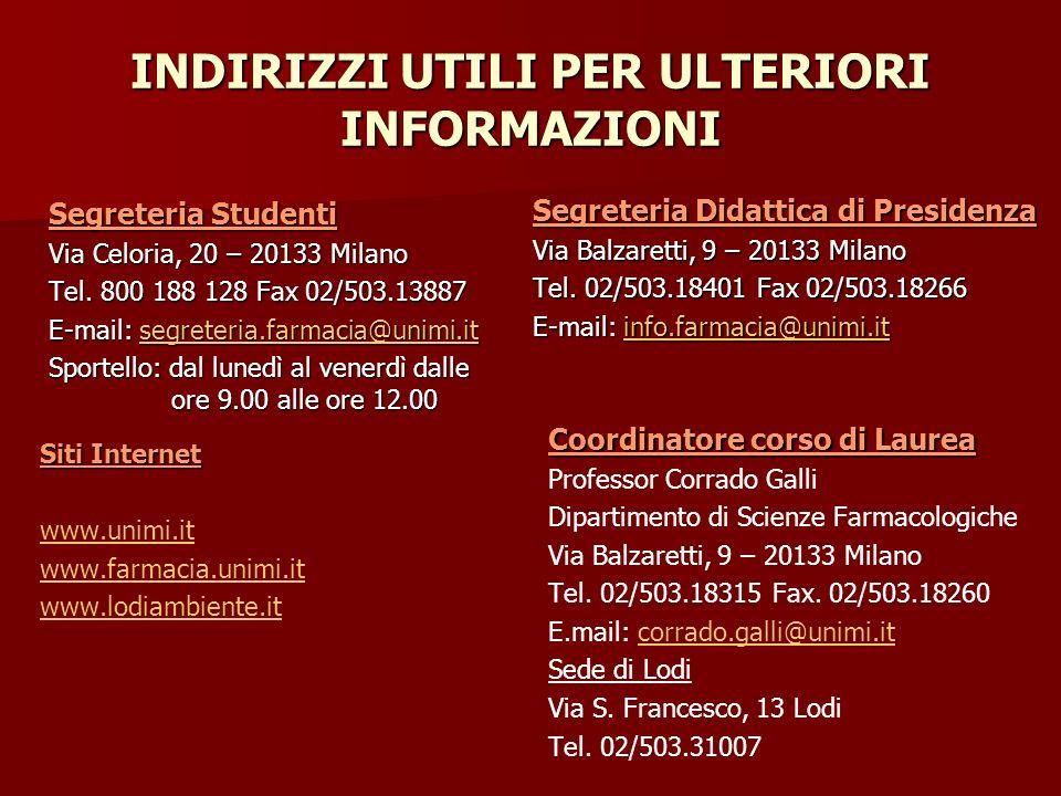 INDIRIZZI UTILI PER ULTERIORI INFORMAZIONI Segreteria Studenti Via Celoria, 20 – 20133 Milano Tel. 800 188 128 Fax 02/503.13887 E-mail: segreteria.far
