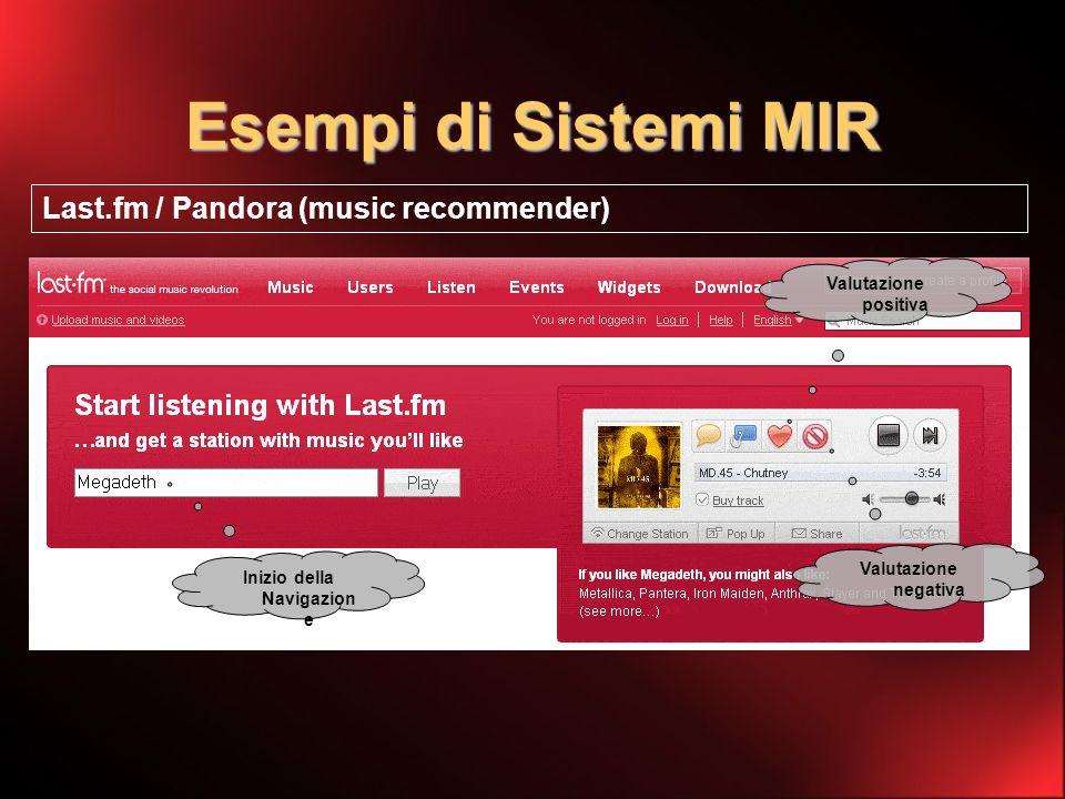 Esempi di Sistemi MIR Last.fm / Pandora (music recommender) Inizio della Navigazion e Valutazione positiva Valutazione negativa
