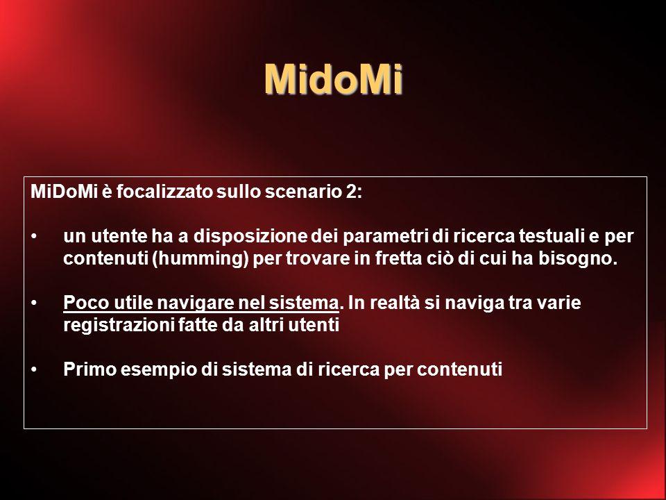 MidoMi MiDoMi è focalizzato sullo scenario 2: un utente ha a disposizione dei parametri di ricerca testuali e per contenuti (humming) per trovare in fretta ciò di cui ha bisogno.