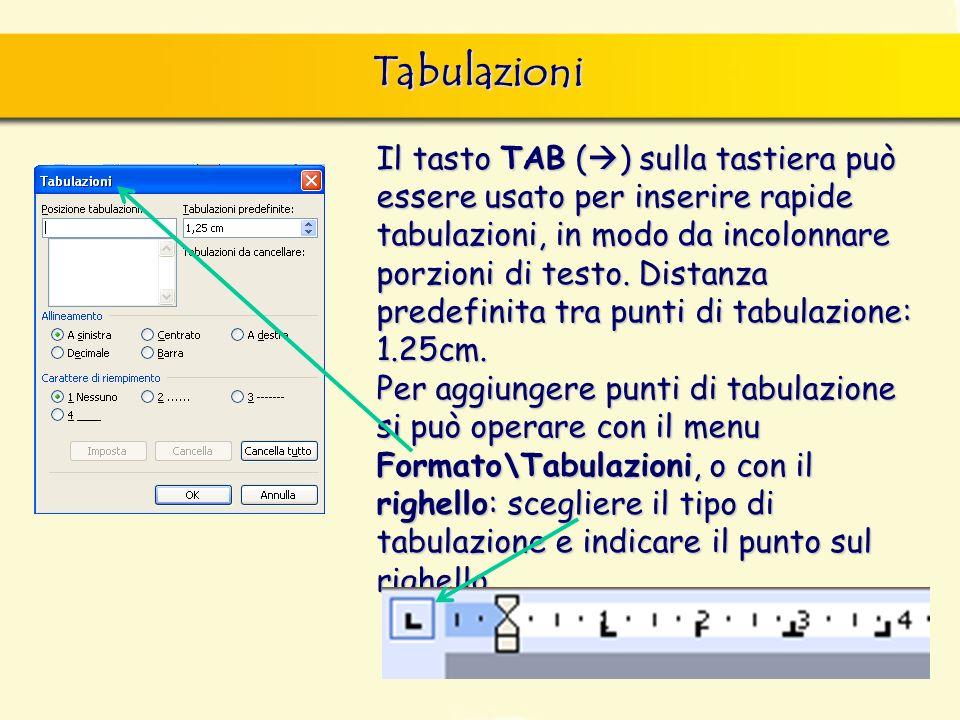 Tabulazioni Il tasto TAB ( ) sulla tastiera può essere usato per inserire rapide tabulazioni, in modo da incolonnare porzioni di testo. Distanza prede