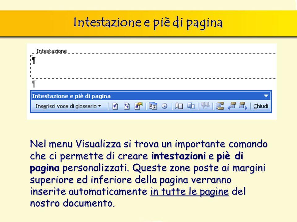 Intestazione e piè di pagina Nel menu Visualizza si trova un importante comando che ci permette di creare intestazioni e piè di pagina personalizzati.