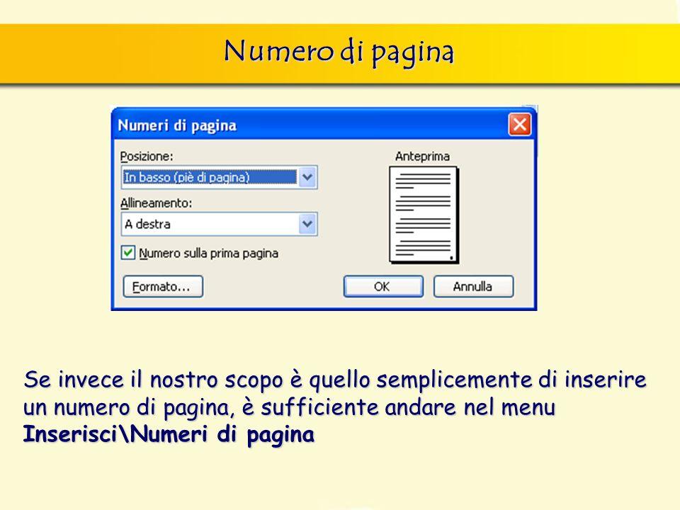 Numero di pagina Se invece il nostro scopo è quello semplicemente di inserire un numero di pagina, è sufficiente andare nel menu Inserisci\Numeri di p