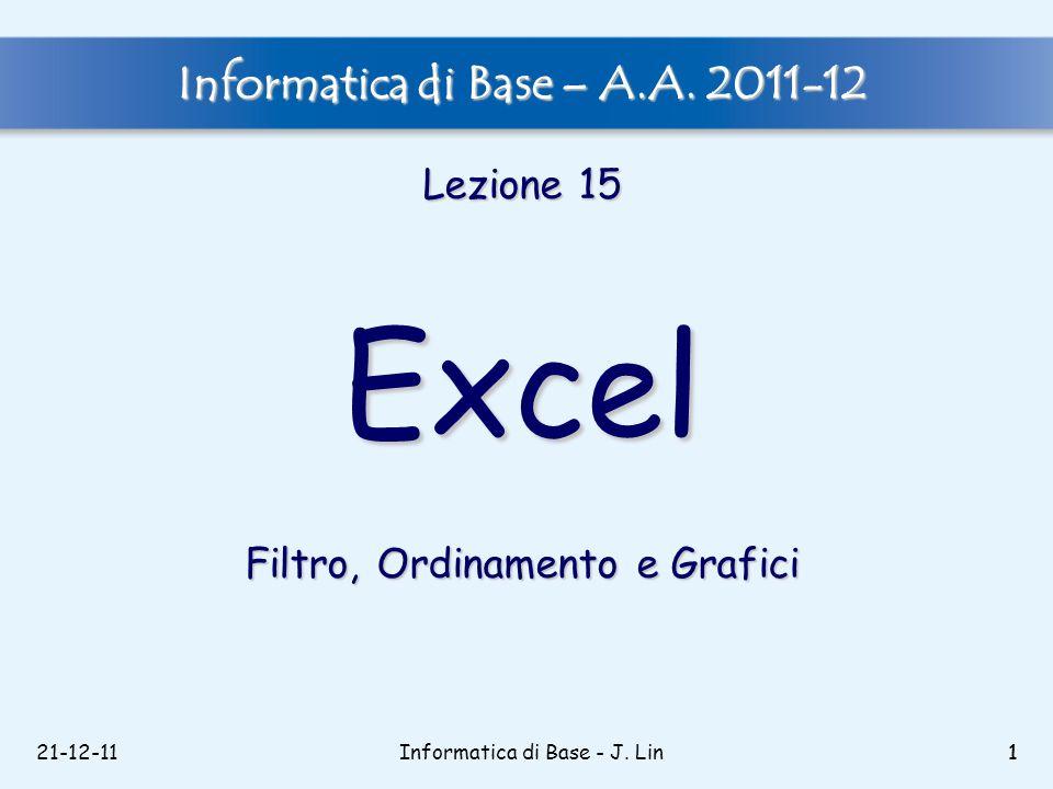 21-12-111Informatica di Base - J. Lin1 Informatica di Base – A.A. 2011-12 Lezione 15 Excel Filtro, Ordinamento e Grafici