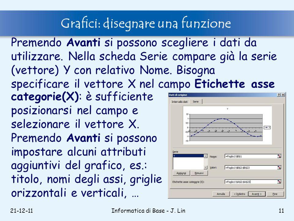 21-12-11Informatica di Base - J. Lin11 Grafici: disegnare una funzione Premendo Avanti si possono scegliere i dati da utilizzare. Nella scheda Serie c