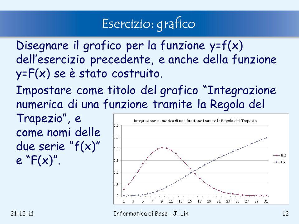 21-12-11Informatica di Base - J. Lin12 Esercizio: grafico Disegnare il grafico per la funzione y=f(x) dellesercizio precedente, e anche della funzione