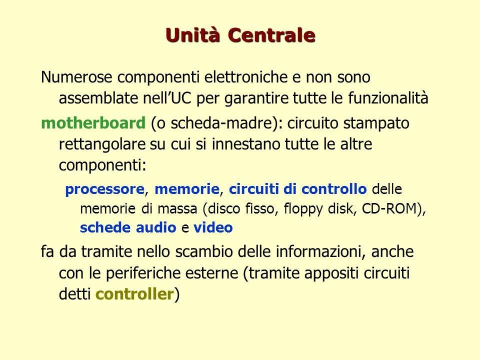 Unità Centrale Numerose componenti elettroniche e non sono assemblate nellUC per garantire tutte le funzionalità motherboard (o scheda-madre): circuit