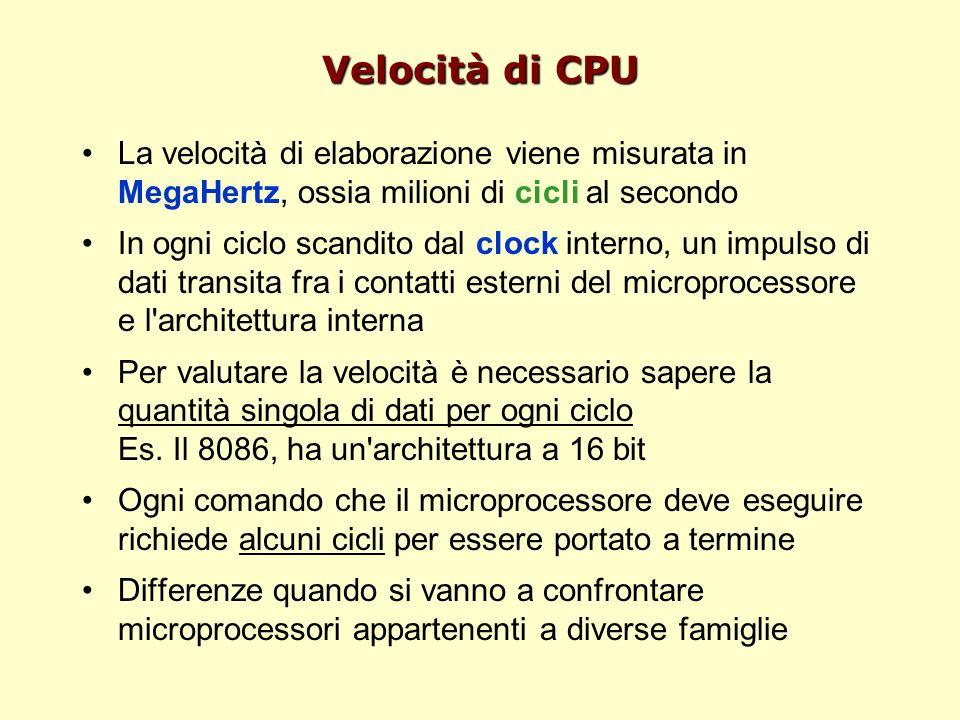 Velocità di CPU La velocità di elaborazione viene misurata in MegaHertz, ossia milioni di cicli al secondo In ogni ciclo scandito dal clock interno, un impulso di dati transita fra i contatti esterni del microprocessore e l architettura interna Per valutare la velocità è necessario sapere la quantità singola di dati per ogni ciclo Es.