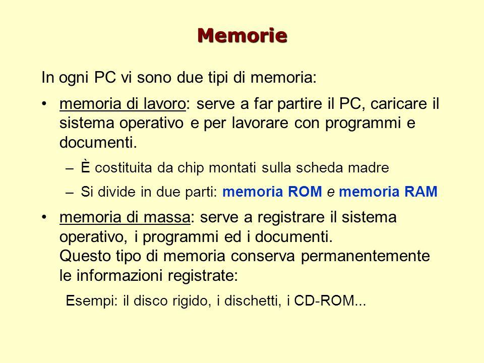 Memorie In ogni PC vi sono due tipi di memoria: memoria di lavoro: serve a far partire il PC, caricare il sistema operativo e per lavorare con program