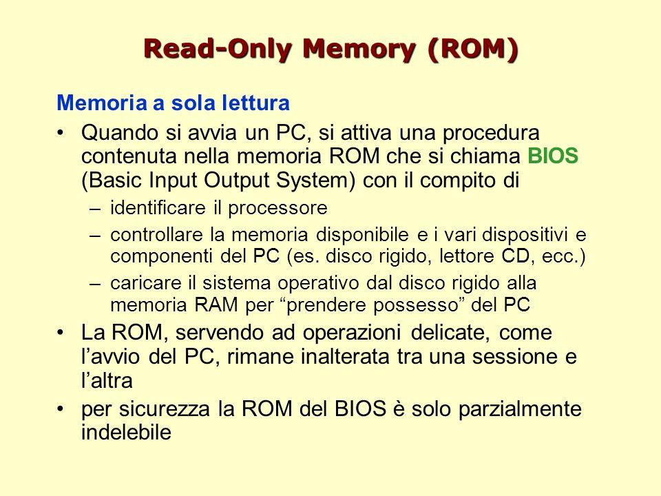 Read-Only Memory (ROM) Memoria a sola lettura Quando si avvia un PC, si attiva una procedura contenuta nella memoria ROM che si chiama BIOS (Basic Input Output System) con il compito di –identificare il processore –controllare la memoria disponibile e i vari dispositivi e componenti del PC (es.