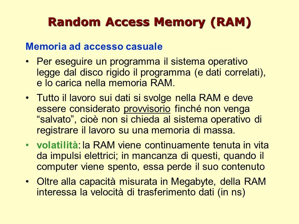 Random Access Memory (RAM) Memoria ad accesso casuale Per eseguire un programma il sistema operativo legge dal disco rigido il programma (e dati correlati), e lo carica nella memoria RAM.