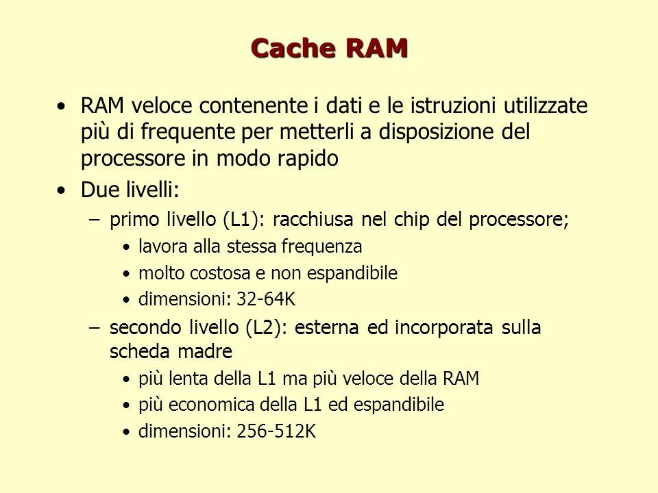 Cache RAM RAM veloce contenente i dati e le istruzioni utilizzate più di frequente per metterli a disposizione del processore in modo rapido Due livelli: –primo livello (L1): racchiusa nel chip del processore; lavora alla stessa frequenza molto costosa e non espandibile dimensioni: 32-64K –secondo livello (L2): esterna ed incorporata sulla scheda madre più lenta della L1 ma più veloce della RAM più economica della L1 ed espandibile dimensioni: 256-512K