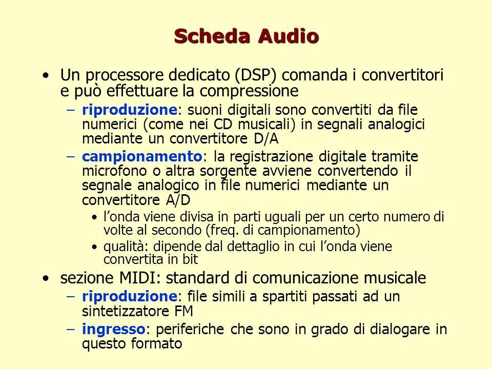 Scheda Audio Un processore dedicato (DSP) comanda i convertitori e può effettuare la compressione –riproduzione: suoni digitali sono convertiti da fil
