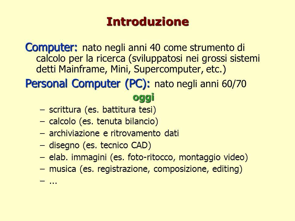 Introduzione Computer: Computer: nato negli anni 40 come strumento di calcolo per la ricerca (sviluppatosi nei grossi sistemi detti Mainframe, Mini, Supercomputer, etc.) Personal Computer (PC): Personal Computer (PC): nato negli anni 60/70oggi –scrittura (es.