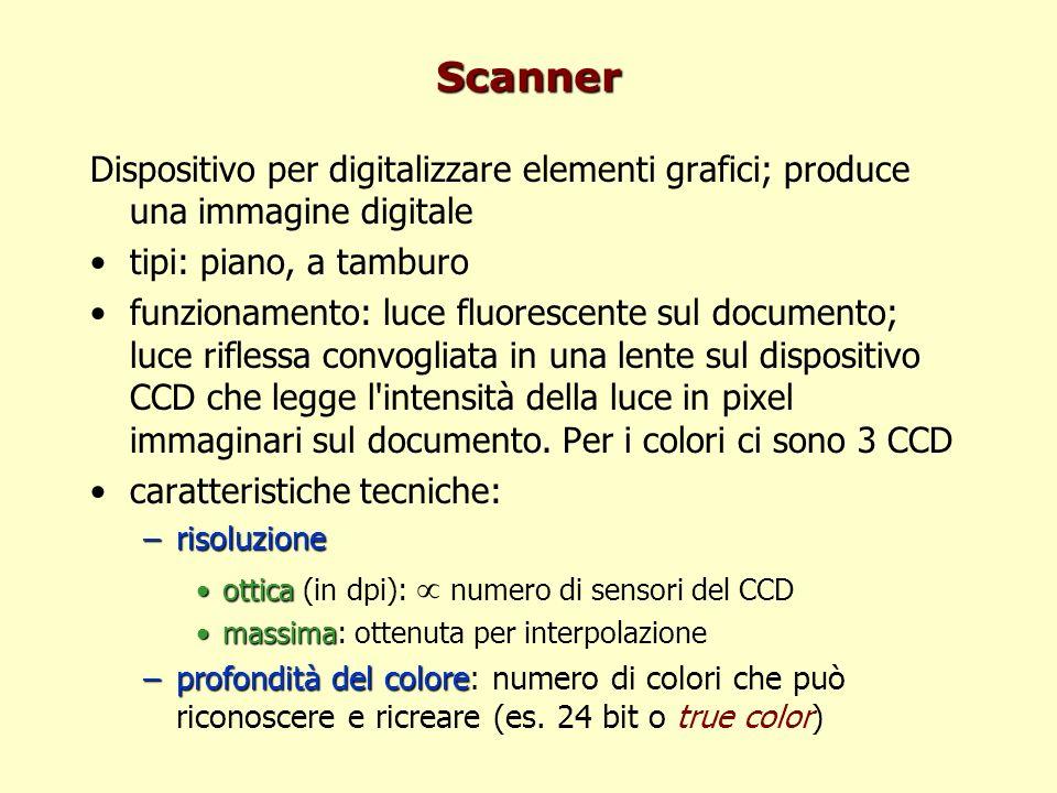 Scanner Dispositivo per digitalizzare elementi grafici; produce una immagine digitale tipi: piano, a tamburo funzionamento: luce fluorescente sul documento; luce riflessa convogliata in una lente sul dispositivo CCD che legge l intensità della luce in pixel immaginari sul documento.