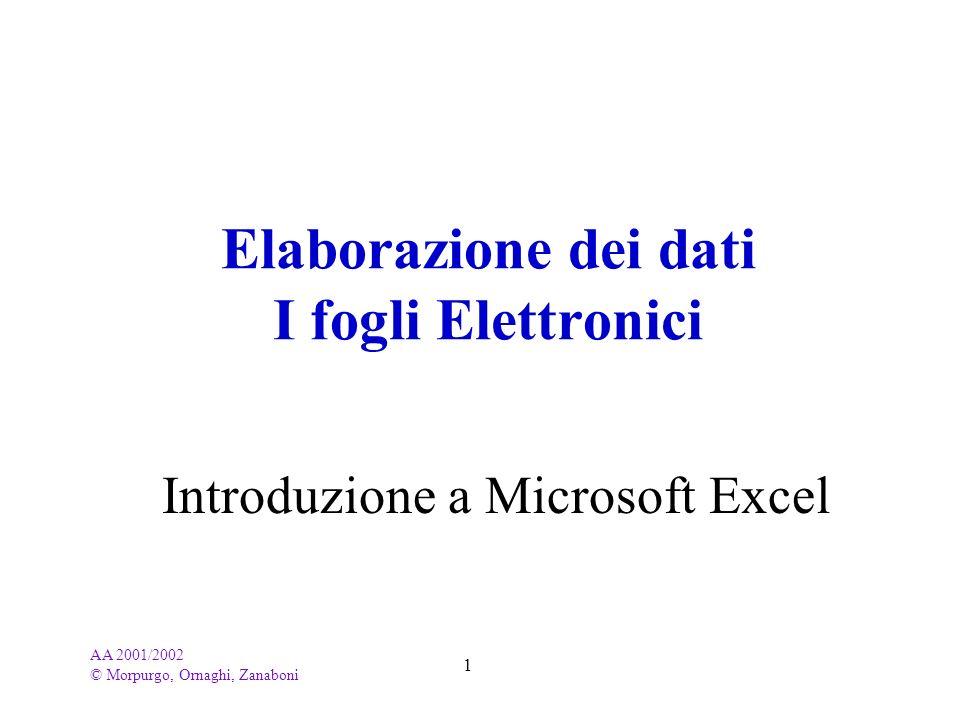 AA 2001/2002 © Morpurgo, Ornaghi, Zanaboni 1 Elaborazione dei dati I fogli Elettronici Introduzione a Microsoft Excel