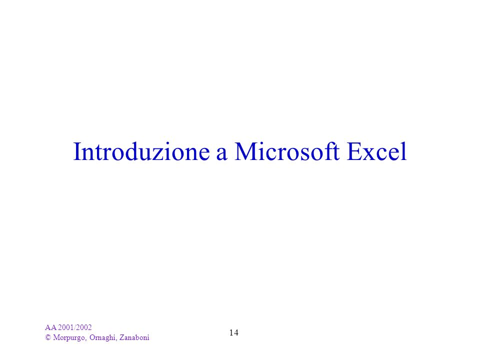 AA 2001/2002 © Morpurgo, Ornaghi, Zanaboni 14 Introduzione a Microsoft Excel