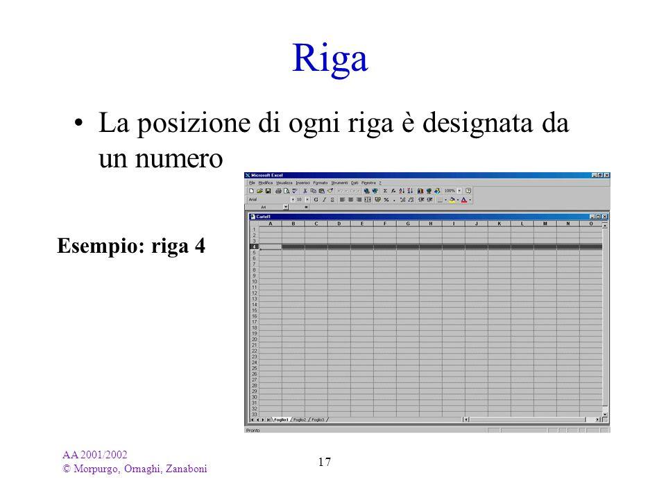 AA 2001/2002 © Morpurgo, Ornaghi, Zanaboni 17 Riga La posizione di ogni riga è designata da un numero Esempio: riga 4