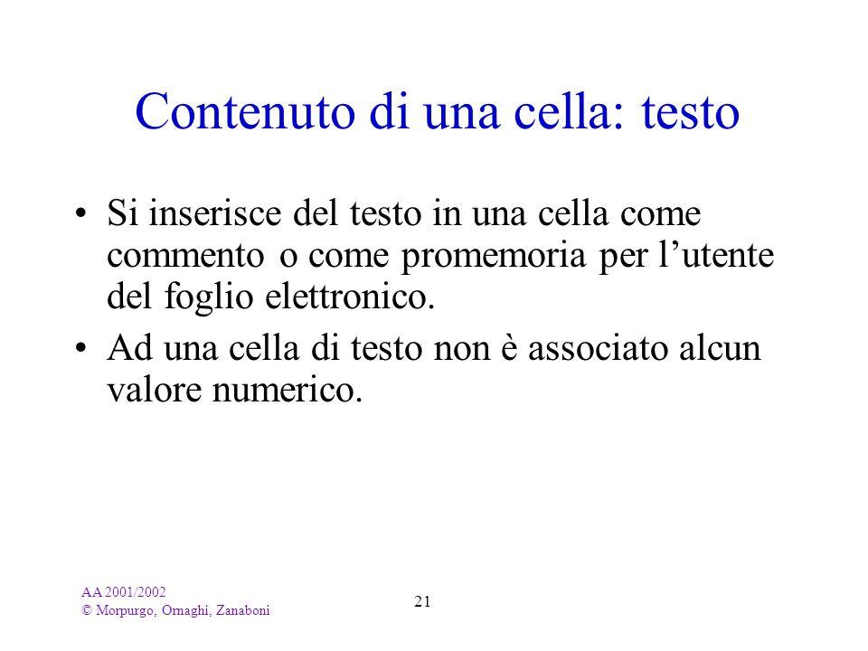 AA 2001/2002 © Morpurgo, Ornaghi, Zanaboni 21 Contenuto di una cella: testo Si inserisce del testo in una cella come commento o come promemoria per lu