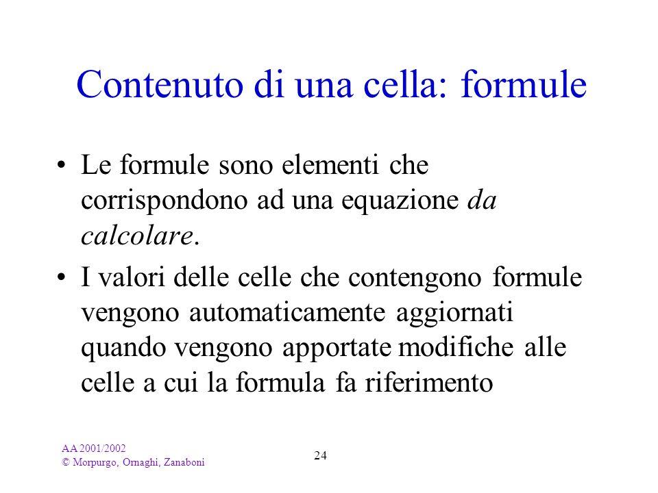 AA 2001/2002 © Morpurgo, Ornaghi, Zanaboni 24 Contenuto di una cella: formule Le formule sono elementi che corrispondono ad una equazione da calcolare