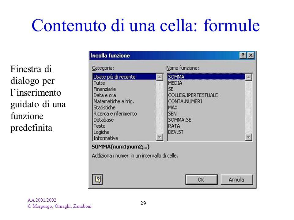 AA 2001/2002 © Morpurgo, Ornaghi, Zanaboni 29 Contenuto di una cella: formule Finestra di dialogo per linserimento guidato di una funzione predefinita