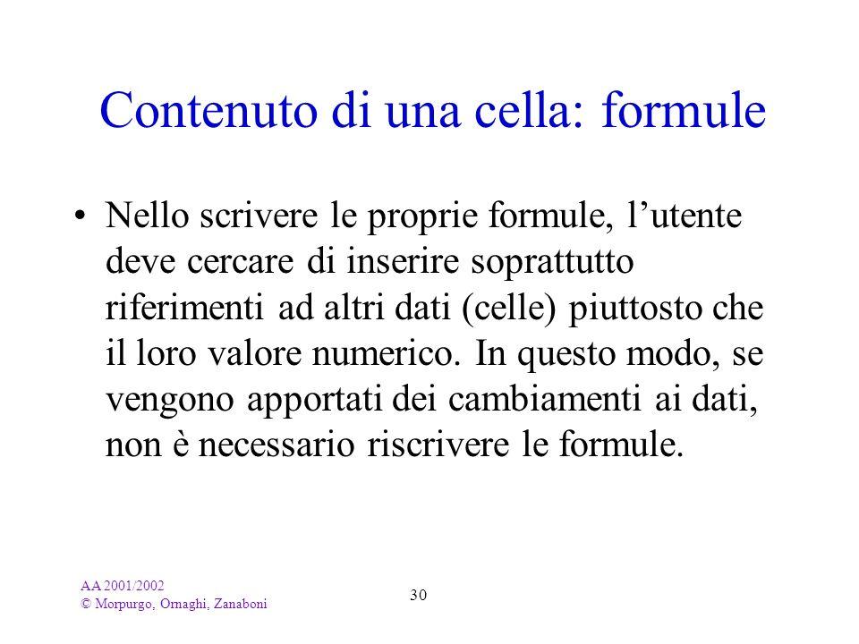 AA 2001/2002 © Morpurgo, Ornaghi, Zanaboni 30 Contenuto di una cella: formule Nello scrivere le proprie formule, lutente deve cercare di inserire sopr