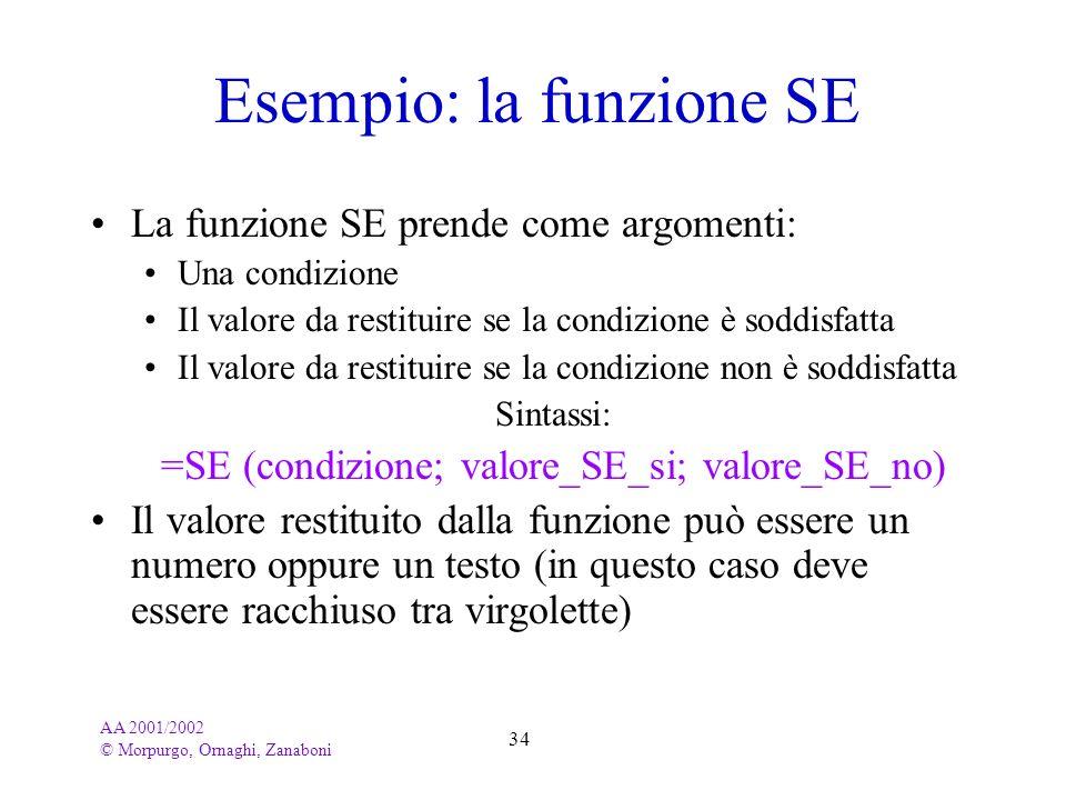 AA 2001/2002 © Morpurgo, Ornaghi, Zanaboni 34 Esempio: la funzione SE La funzione SE prende come argomenti: Una condizione Il valore da restituire se