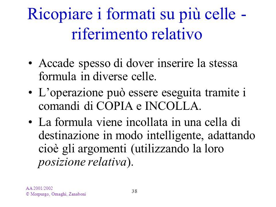 AA 2001/2002 © Morpurgo, Ornaghi, Zanaboni 38 Ricopiare i formati su più celle - riferimento relativo Accade spesso di dover inserire la stessa formul