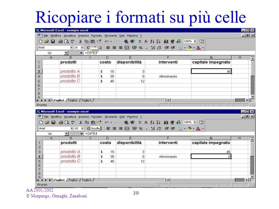 AA 2001/2002 © Morpurgo, Ornaghi, Zanaboni 39 Ricopiare i formati su più celle