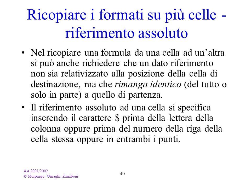 AA 2001/2002 © Morpurgo, Ornaghi, Zanaboni 40 Ricopiare i formati su più celle - riferimento assoluto Nel ricopiare una formula da una cella ad unaltr