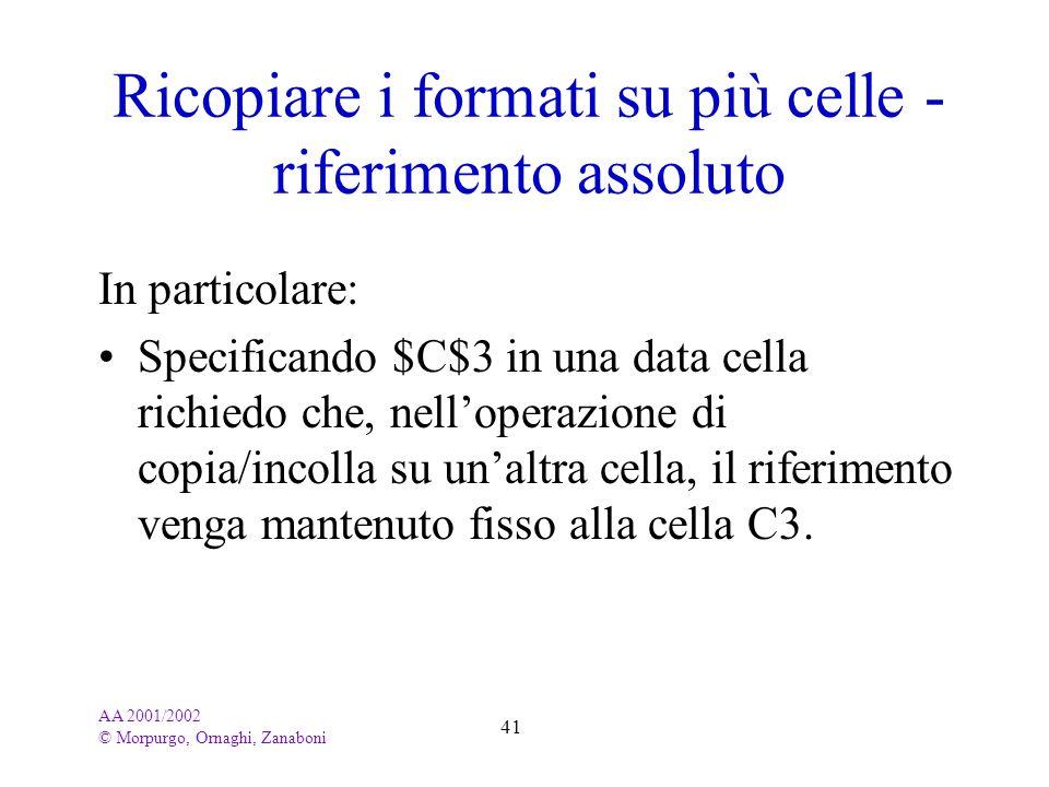 AA 2001/2002 © Morpurgo, Ornaghi, Zanaboni 41 Ricopiare i formati su più celle - riferimento assoluto In particolare: Specificando $C$3 in una data ce