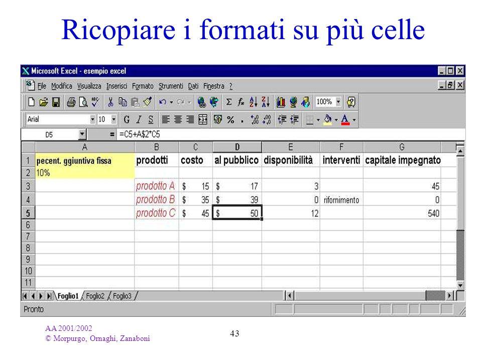 AA 2001/2002 © Morpurgo, Ornaghi, Zanaboni 43 Ricopiare i formati su più celle