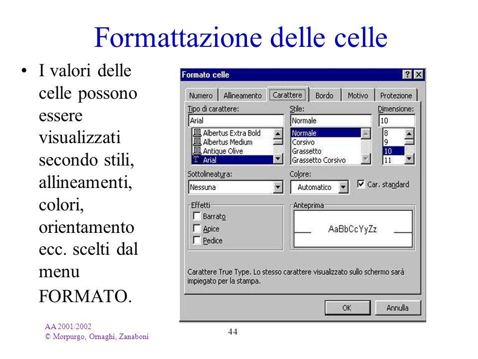 AA 2001/2002 © Morpurgo, Ornaghi, Zanaboni 44 Formattazione delle celle I valori delle celle possono essere visualizzati secondo stili, allineamenti,