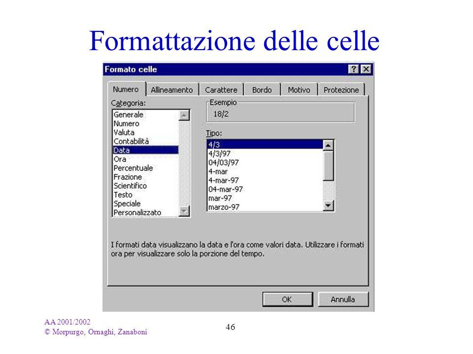 AA 2001/2002 © Morpurgo, Ornaghi, Zanaboni 46 Formattazione delle celle